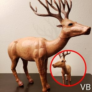 Handmade Leather Deer Statue With Glass Eyes